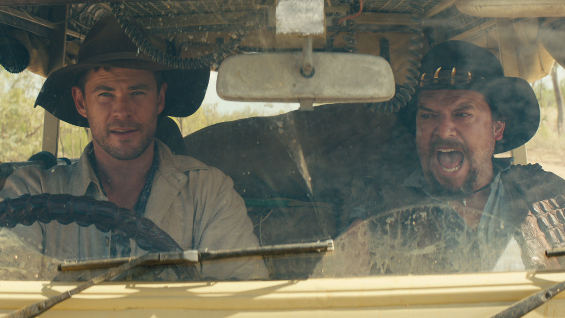 Chris Hemsworth and Danny McBride in a car