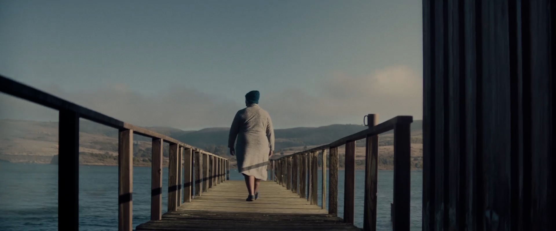 scene pier water clothing fog sky person railing lake cloud man footwear overlooking distance